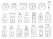 Set of different cosmetic products. Isolated on white background. Outline collection icons for web design. Vector illustration.