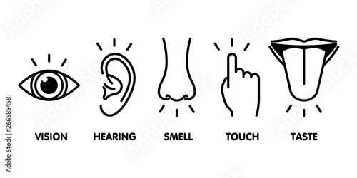 Leinwand Poster  Icon set of five human senses: vision - eye , smell - nose , hearing - ear , touch - hand , taste - mouth with tongue