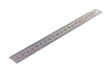 Single Metal Ruler With Digits And Scale Isolated On White Background. Clipping Path