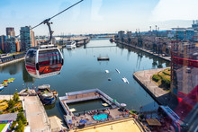 Emirates Air Line Cable Cars On Thames River In London, UK