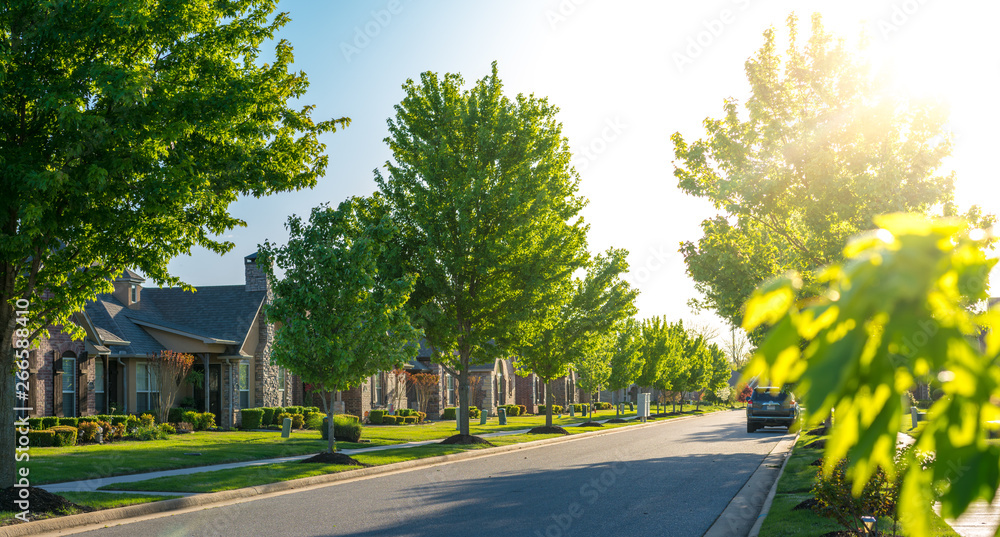 Fototapety, obrazy: View of modern residential houses neighborhood street in Bentonville, Northwest Arkansas, sunny flare day, fast growing city lifestyle