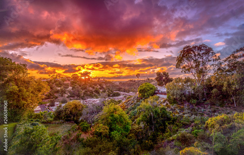 Poster Crimson colorful sunset landscape in San Diego, California