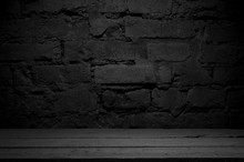 Selected Focus Empty Wooden Table And Wall Texture Or Old Brick Wall Blur Background Image. For Your Photomontage Or Product Display.