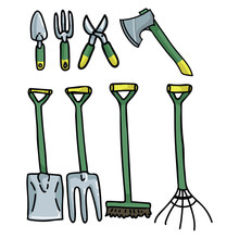 Cute Gardening Tools Cartoon Vector Illustration Motif Set. Hand Drawn Trowel, Rake, Broom And Fork Blog Icons. Botanical Equipment Graphics. Secateur, Trowel And Axe Web Buttons.