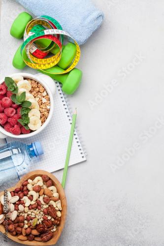 Fototapeta Healthy food and fitness concept obraz