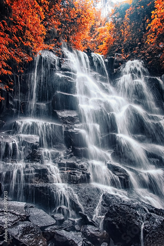 Stunning colorful landscape with a spectacular waterfall in the autumn - 266599213