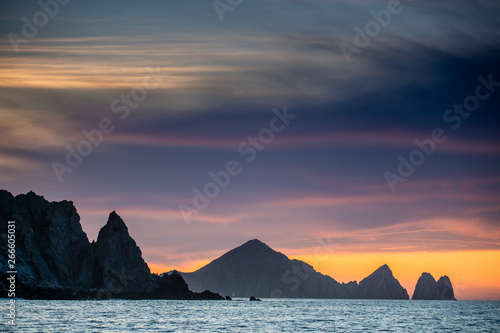 Foto auf Leinwand Lavendel Beautiful Sunset of Seascape with Mountains silhouets. Sea off the Coast of Cabo San Lucas. Gulf of California (also known as the Sea of Cortez, Sea of Cortes. Mexico.