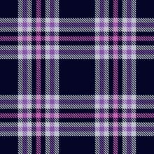 Seamless Plaid Pattern With Purple Stripes On Dark Background. Vector Illustration.