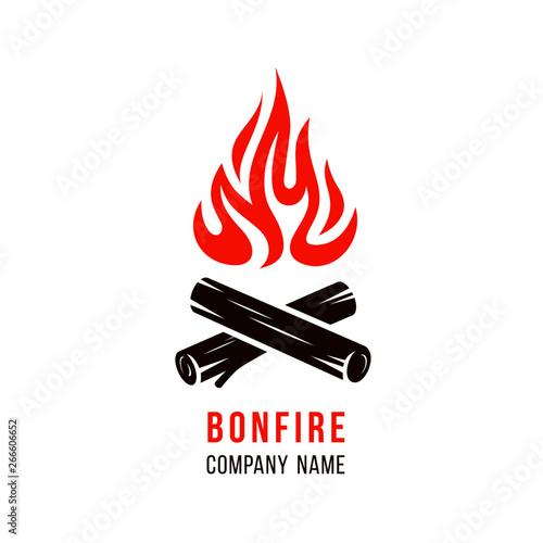 Slika na platnu Vector illustration of campfire with firewood