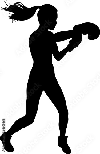 Pinturas sobre lienzo  Boxing Women 10 isolated vector silhouette