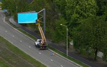 Empty Blue Billboard Being Ins...