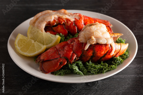 Broiled Lobster Tails on a Bed of Kale with Lemon Slices Wallpaper Mural