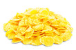Corn flakes on a white isolated background