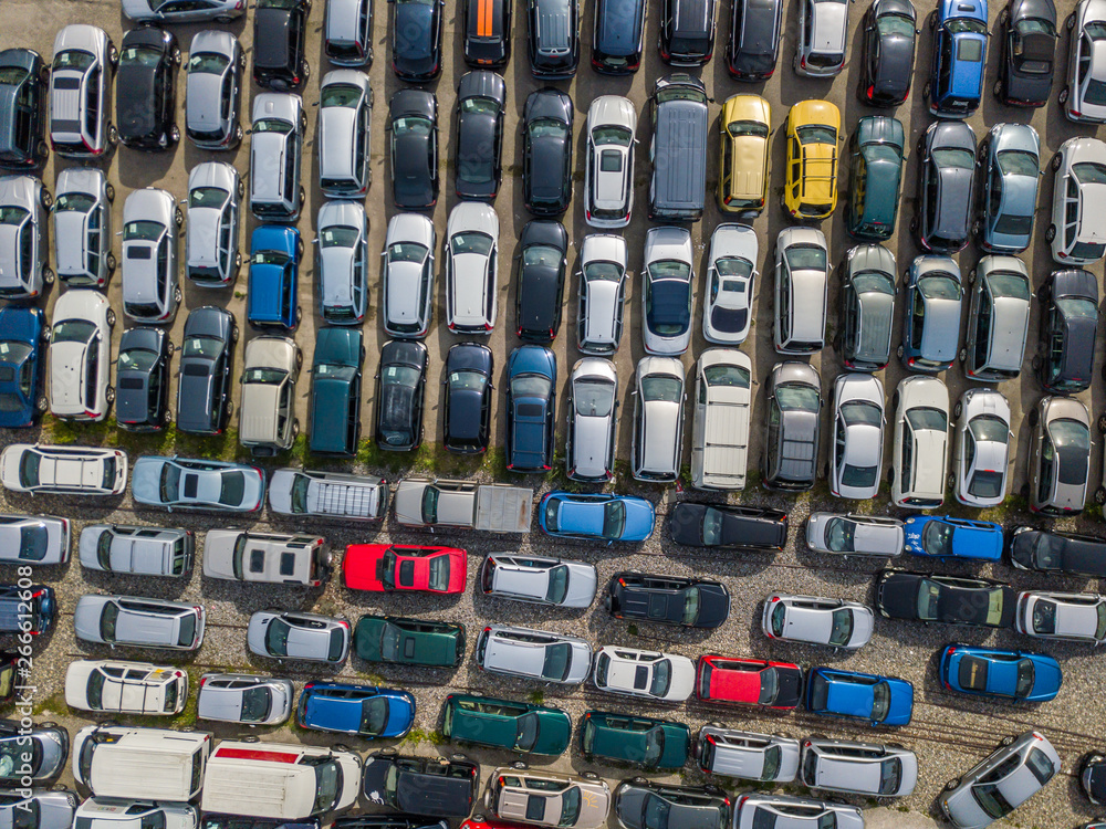 Fototapety, obrazy: Aerial view of large car parking of car dealer. Secondhand cars.
