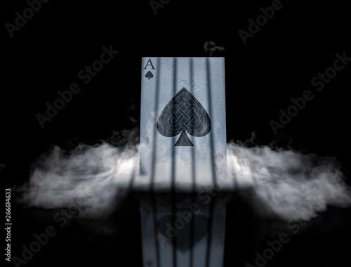 Fotografía  POKER card in smoke ace of spades background, wallpaper