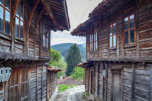 Revival traditional bulgarian houses of the nineteenth century in historical old town of Kotel, Sliven Region, Bulgaria. Heritage monument of culture in spring time - Image