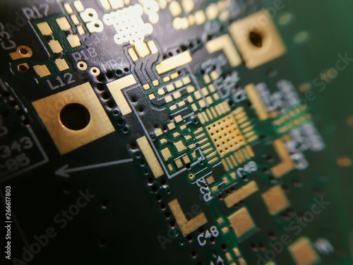 Keuken foto achterwand Macrofotografie Macro close up of PCB QFN footprint