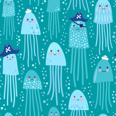 Sweet-faced jellyfishes sailors and jellyfishes pirates. Seamless vector pattern in cartoon style.