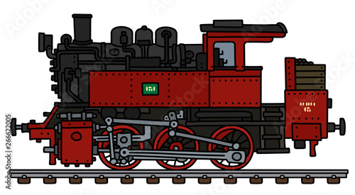 Fotomural The vectorized hand drawing of a vintage red tank engine steam locomotive