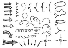 Cartoon Pictures Set Of Different Hand Drawn Arrows. Mixed Style White And Black Flat Icons. Vector Illustration. White Background.