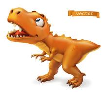 Tyrannosaurus. T. Rex Dinosaur Cartoon Character. Funny Animal 3d Vector Icon