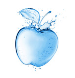 Apple with drops made of water splashes. Concept image isolated on white background
