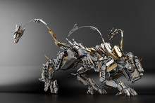 Wild Cyber Animal Predator On Dark Background, 3d Illustration