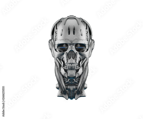 Cyber skull in front 3d rendering Wallpaper Mural