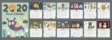 Forest Calendar For 2020 Year. Printable Planner Of 12 Months With Cute Animals. Week Starts On Sunday, 8,5x11 Inches Size. Vector Illustration