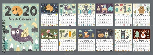 Fotomural Forest calendar for 2020 year