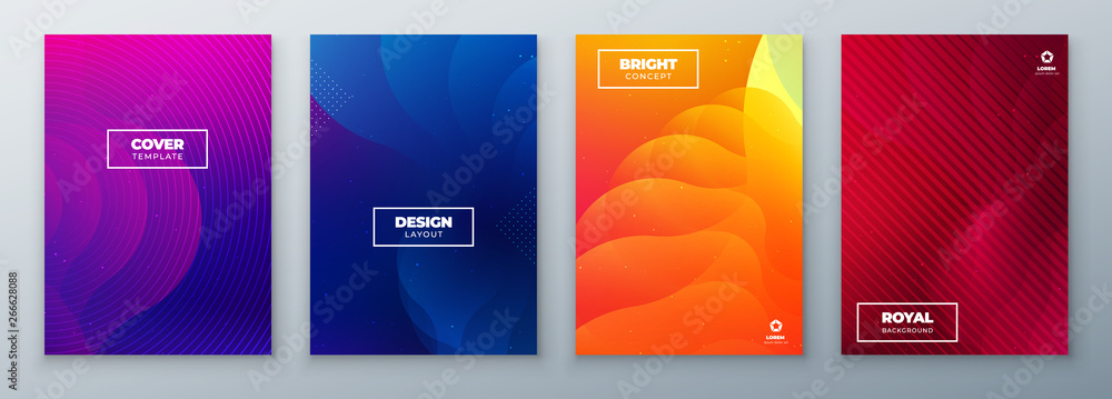 Fototapeta Minimal modern cover design. Dynamic colorful gradients. Future geometric patterns. poster template vector design.