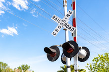 Railroad Crossing Stop Light And Barrier