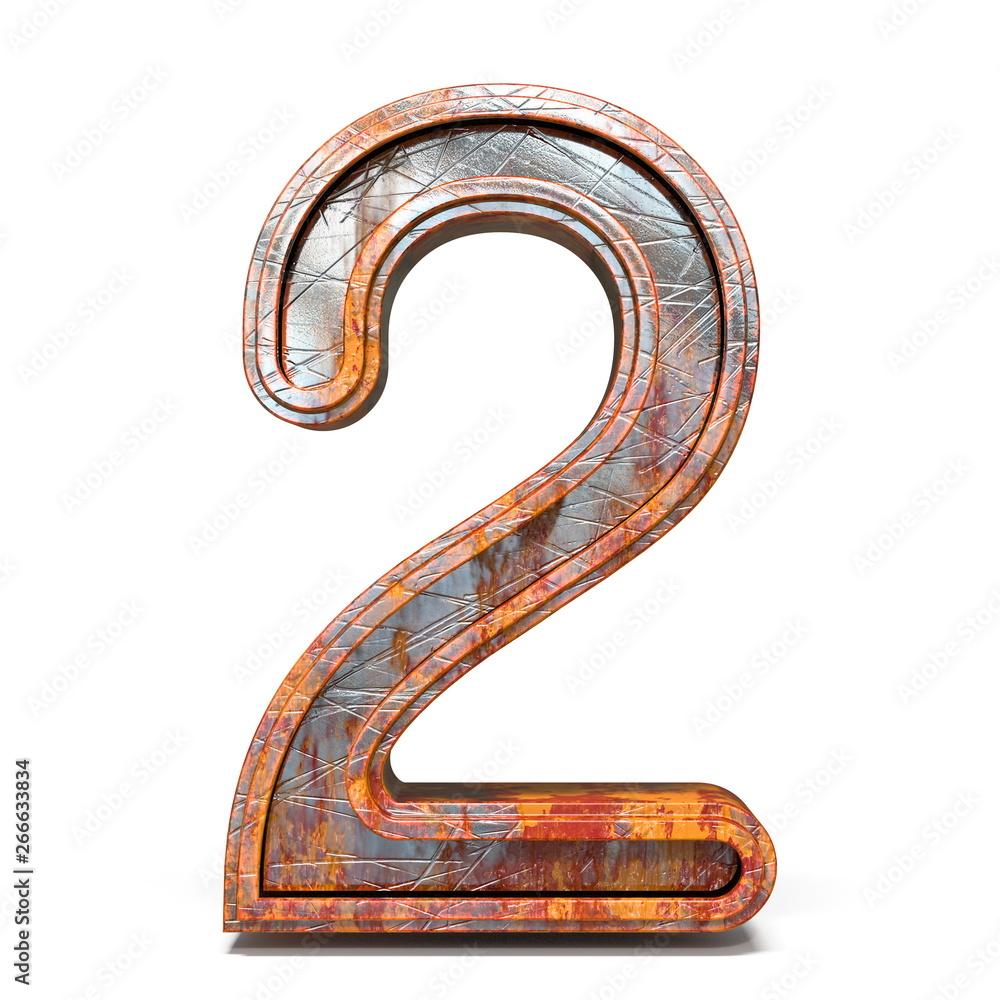Fototapeta Rusty metal font Number 2 TWO 3D