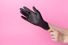 Hand Black Gloves Of Doctor Or...