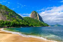 Mountain Sugarloaf And Red Beach In Rio De Janeiro, Brazil.