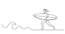 Continuous Line Drawing Of Surfer Woman Running On Beach With Surf Board