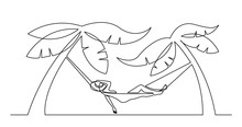 Continuous Line Drawing Of Woman Relaxing On Hammock On Tropical Beach Under Palm Trees