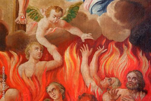 DŽtails. Les ‰mes du Purgatoire. Eglise Saint-Nicolas de VŽroce. Canvas Print