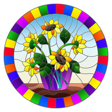 Illustration In Stained Glass Style With Bouquets Of Sunflowers In A Blue Vase On Table On A Blue Background, Round Image In Bright Frame