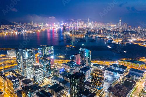 Top view of Hong Kong city at night Billede på lærred