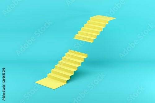 Obraz Yellow stairway missing steps in the middle isolated on blue background. Minimal conceptual idea concept. 3D Render. - fototapety do salonu