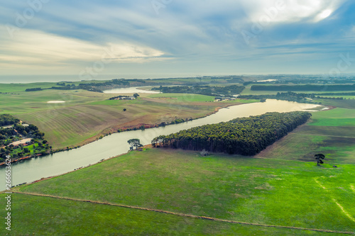 Poster Olive Aerial view of Hopkins River and grasslands near Warrnambool, Australia