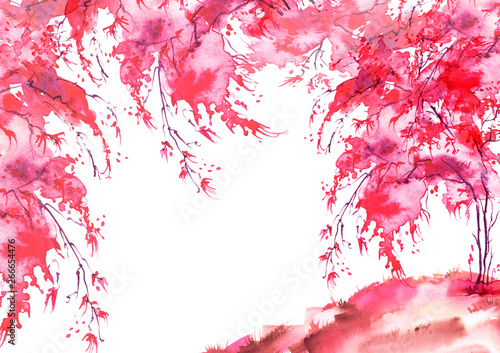 Montage in der Fensternische Rosa Lovey Watercolor vintage bush, a tree. pink, red silhouette of trees. illustration. Watercolor cherry blossom. Hand draw cherry blossom sakura branch and flowers. landscape, forest. card, invitation