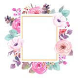kwiaty w akwarela. ilustracja kwiatowa, liść, kompozycja botaniczna na ślub lub kartkę z życzeniami. gałąź kwiatów - streszczenie liść róż. kolekcja ogrodowa i dzika, leśna ziela, kwiaty, egzotyczna lea