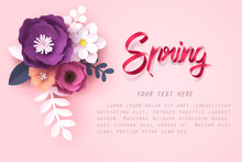 Paper Art Of Flower And Spring Calligraphy Lettering