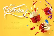 Paper Art Of Falling Cupcake, Happy Birthday Celebrate