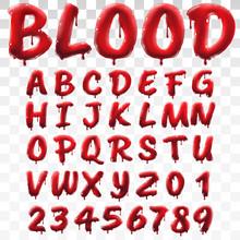 Translucent Bloody Alphabet Isolated On Transparent Background