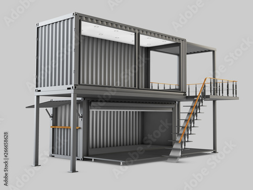 3d Illustration of Converted old shipping container into cafe, isolated gray Wallpaper Mural
