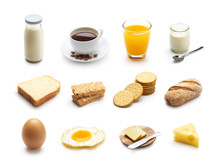 Breakfast Food And Drinks Isolated On White Background