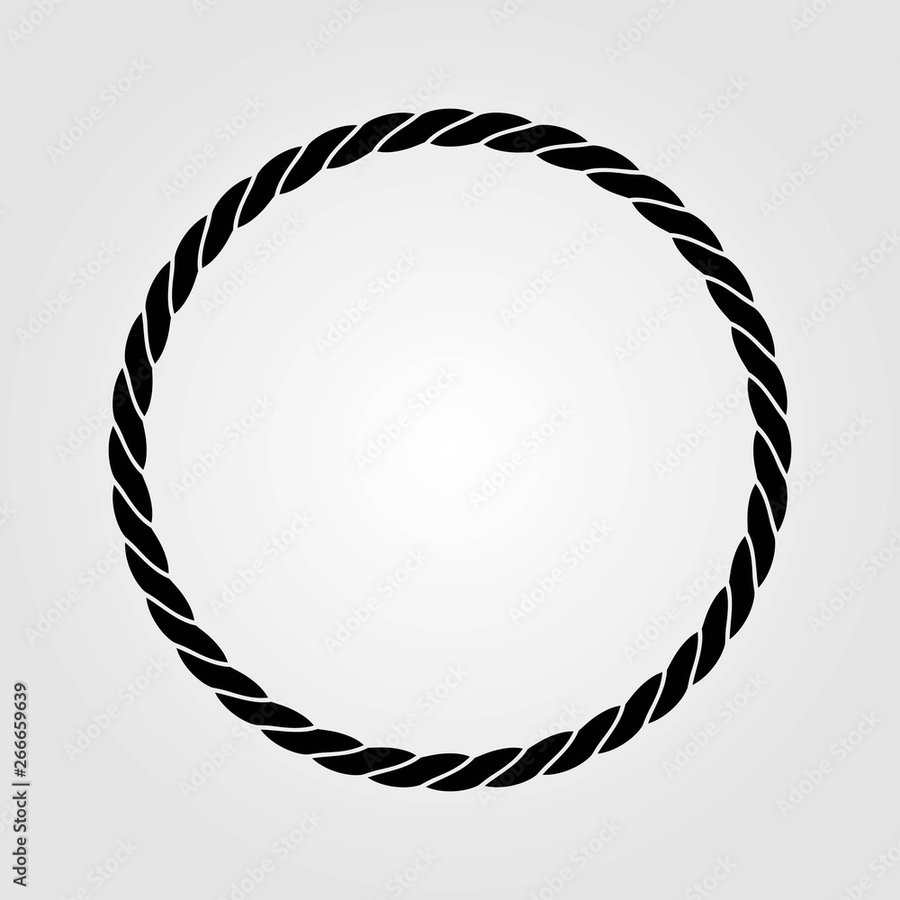 Fototapety, obrazy: Round marine rope frame isolated on white background. Vector illustration